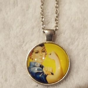 Rosie the riveter glass dome cabochon necklace new